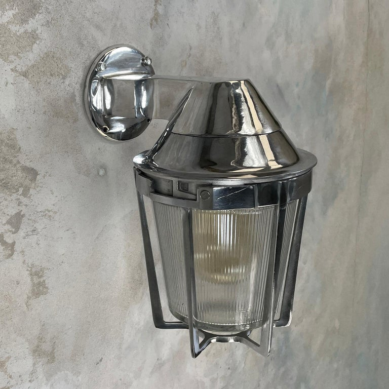 Late Century American Cast Aluminum Sconce, Appleton Electric, Prismatic Glass For Sale 8
