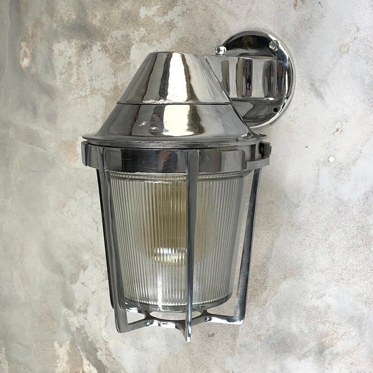 Late Century American Cast Aluminum Sconce, Appleton Electric, Prismatic Glass For Sale 9