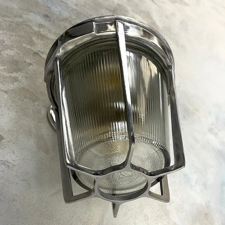 Late Century American Cast Aluminum Sconce, Appleton Electric, Prismatic Glass For Sale 10