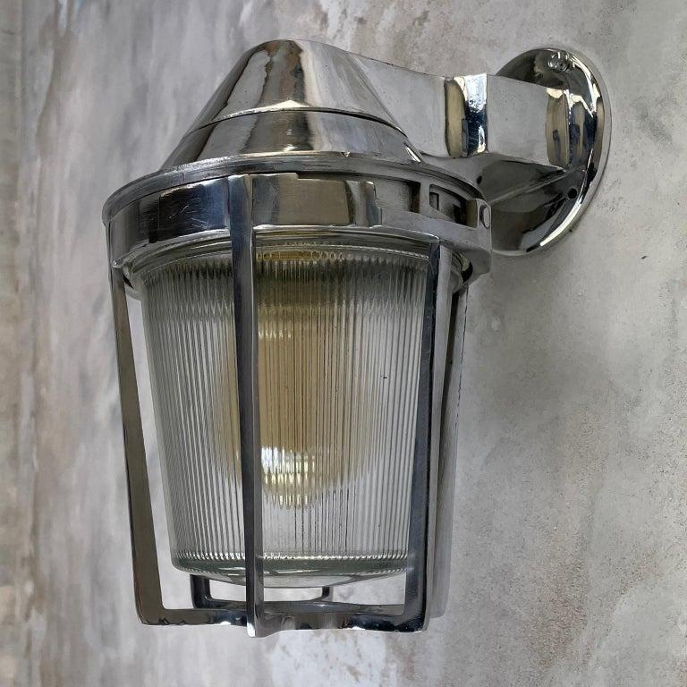 Late Century American Cast Aluminum Sconce, Appleton Electric, Prismatic Glass For Sale 11