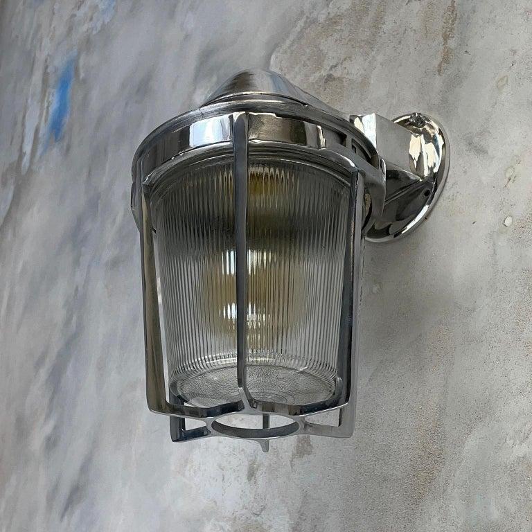 Late Century American Cast Aluminum Sconce, Appleton Electric, Prismatic Glass For Sale 12