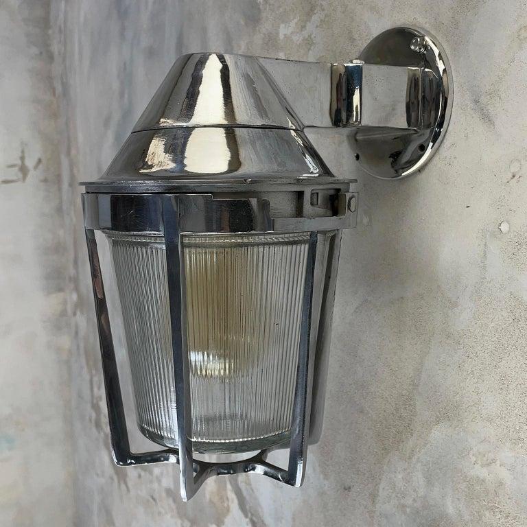 Late Century American Cast Aluminum Sconce, Appleton Electric, Prismatic Glass For Sale 13