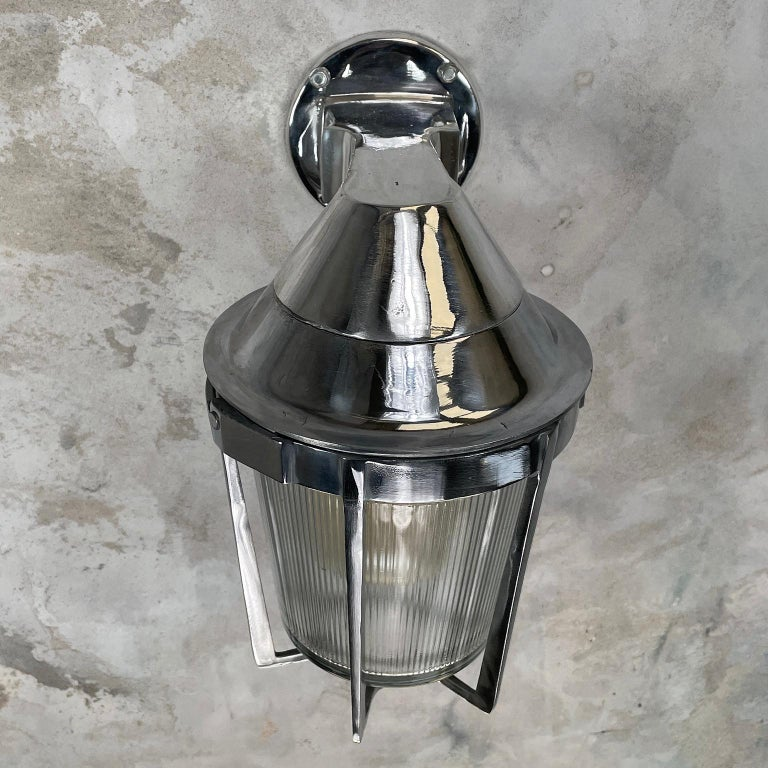 Late Century American Cast Aluminum Sconce, Appleton Electric, Prismatic Glass For Sale 2