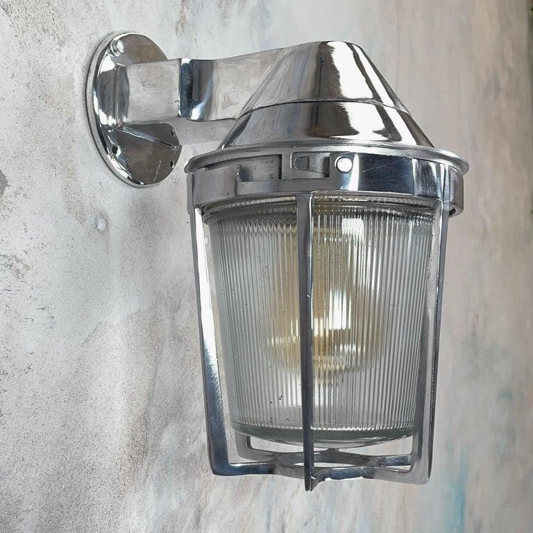 Late Century American Cast Aluminum Sconce, Appleton Electric, Prismatic Glass For Sale 3