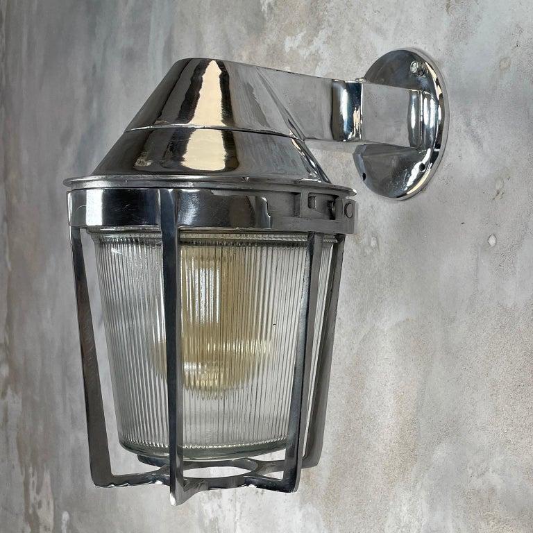 Late Century American Cast Aluminum Sconce, Appleton Electric, Prismatic Glass For Sale 4