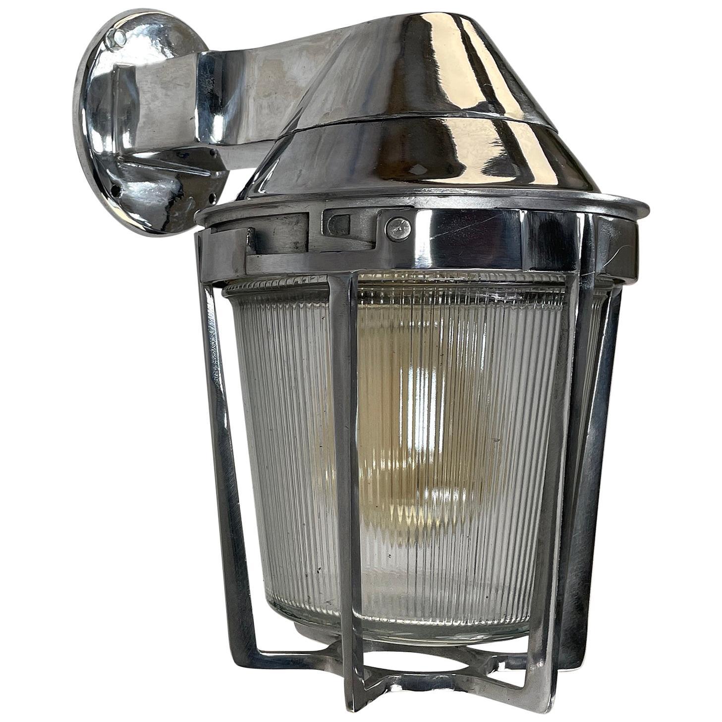 Late Century American Cast Aluminum Sconce, Appleton Electric, Prismatic Glass
