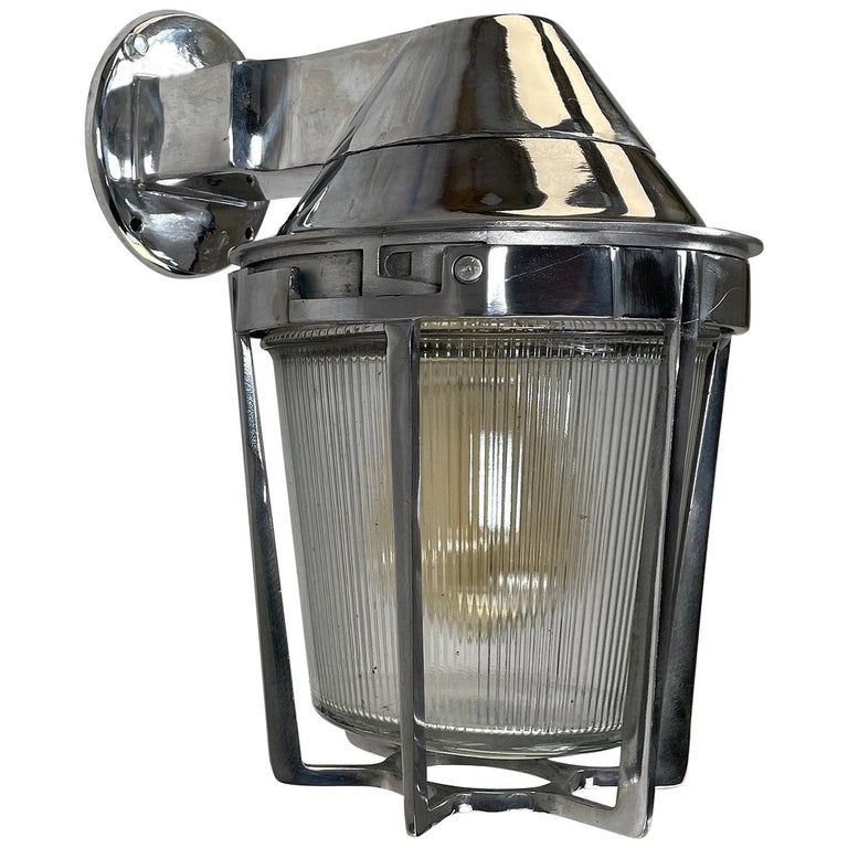 Late Century American Cast Aluminum Sconce, Appleton Electric, Prismatic Glass For Sale