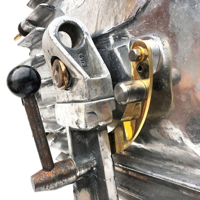 Late Century Eastern Block Aluminium Searchlight & British Tripod Floor Lamp For Sale 2