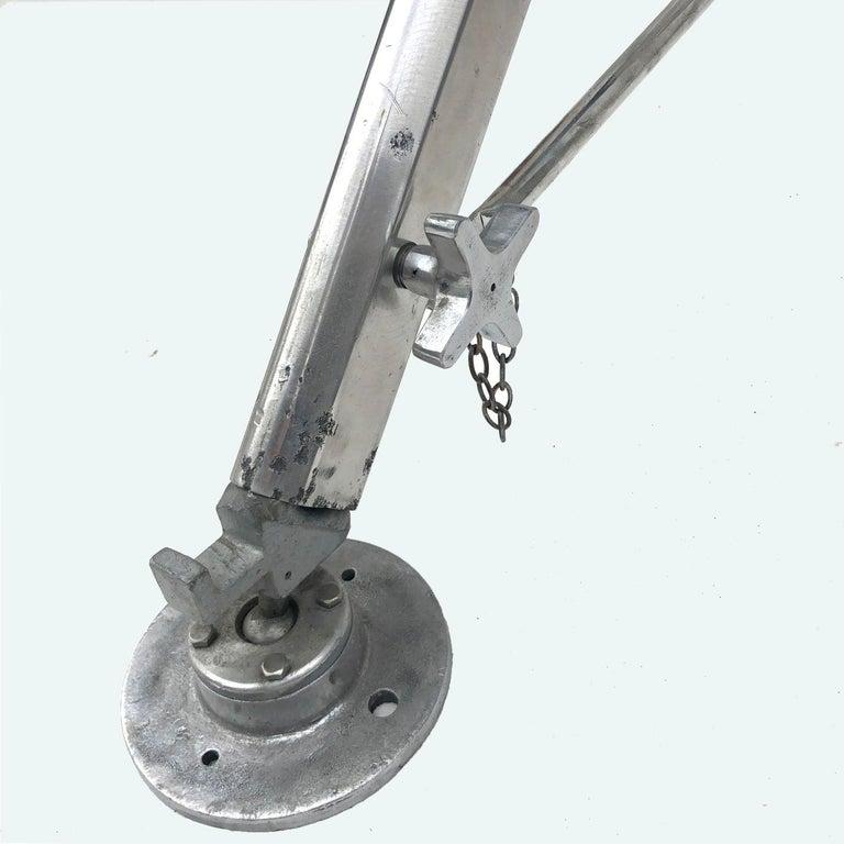 Late Century Eastern Block Aluminium Searchlight & British Tripod Floor Lamp For Sale 4