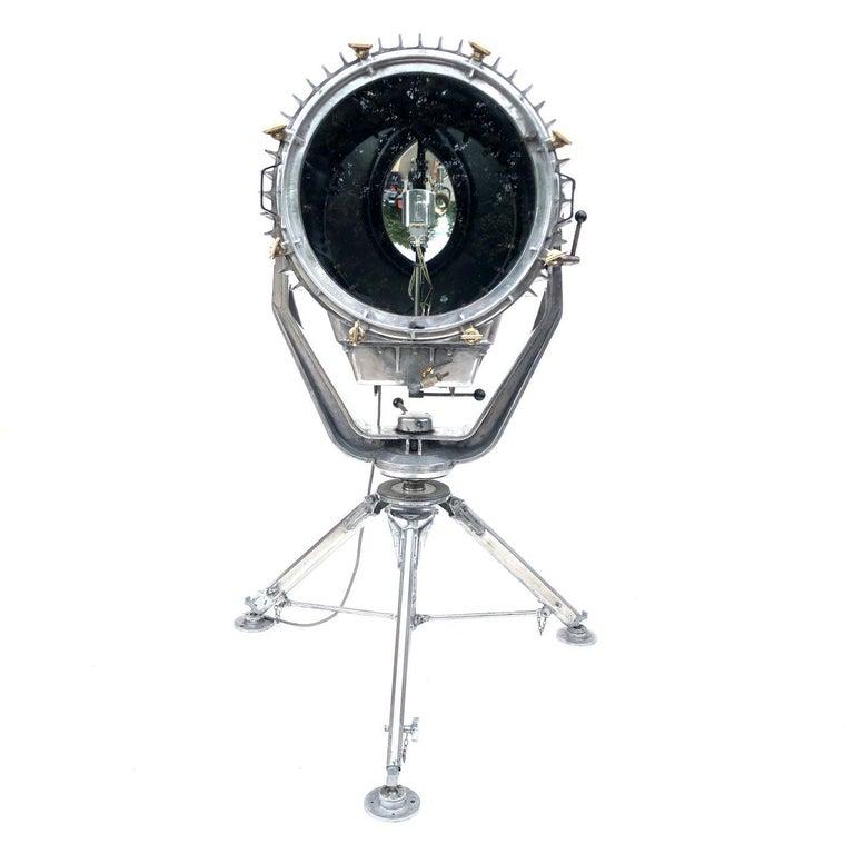 Industrial Late Century Eastern Block Aluminium Searchlight & British Tripod Floor Lamp For Sale