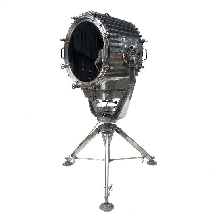 Cast Late Century Eastern Block Aluminium Searchlight & British Tripod Floor Lamp For Sale