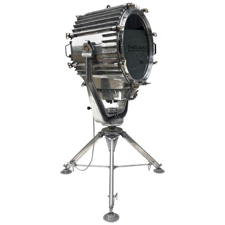 Late Century Eastern Block Aluminium Searchlight & British Tripod Floor Lamp For Sale