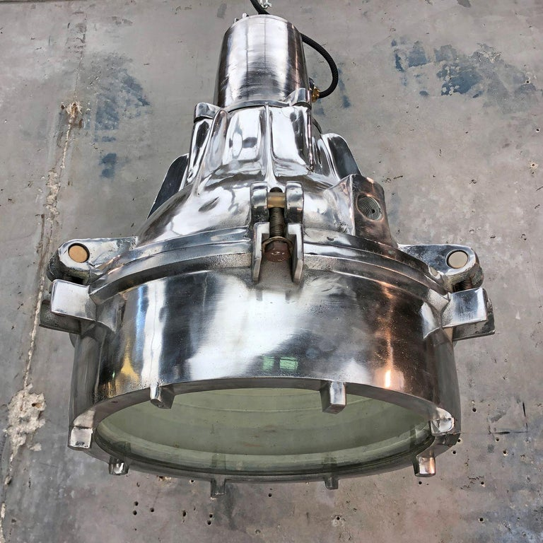 Late Century Explosion Proof Industrial Aluminium and Glass Ceiling Pendant In Good Condition For Sale In Leicester, Leicestershire
