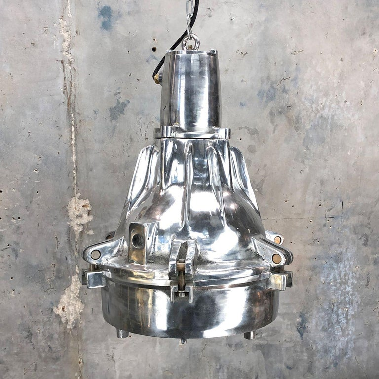 Late Century Explosion Proof Industrial Aluminium and Glass Ceiling Pendant For Sale 2