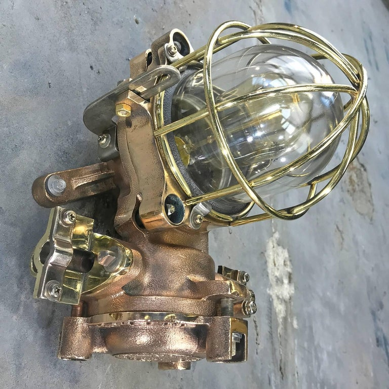 Late Century Flame Proof Cast Bronze Ceiling / Wall Light, Glass Dome Brass Cage For Sale 5