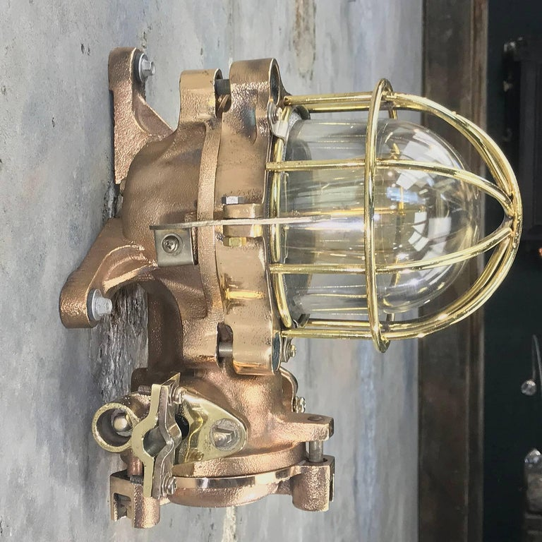 Late Century Flame Proof Cast Bronze Ceiling / Wall Light, Glass Dome Brass Cage For Sale 6