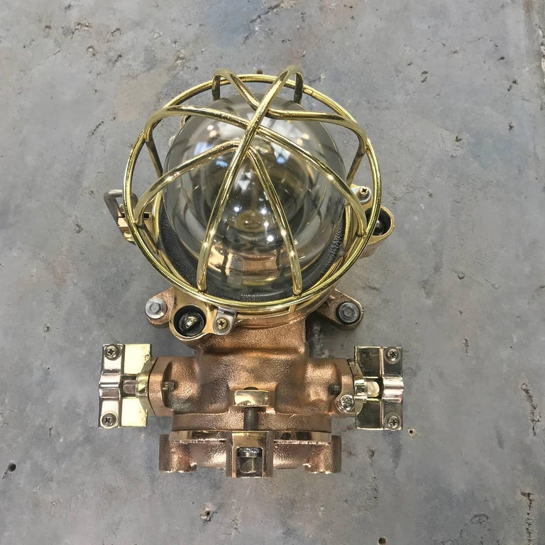 Late Century Flame Proof Cast Bronze Ceiling / Wall Light, Glass Dome Brass Cage For Sale 7