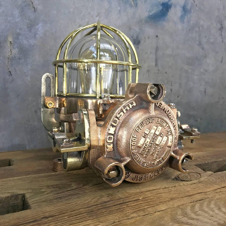 Late Century Flame Proof Cast Bronze Ceiling / Wall Light, Glass Dome Brass Cage For Sale 9