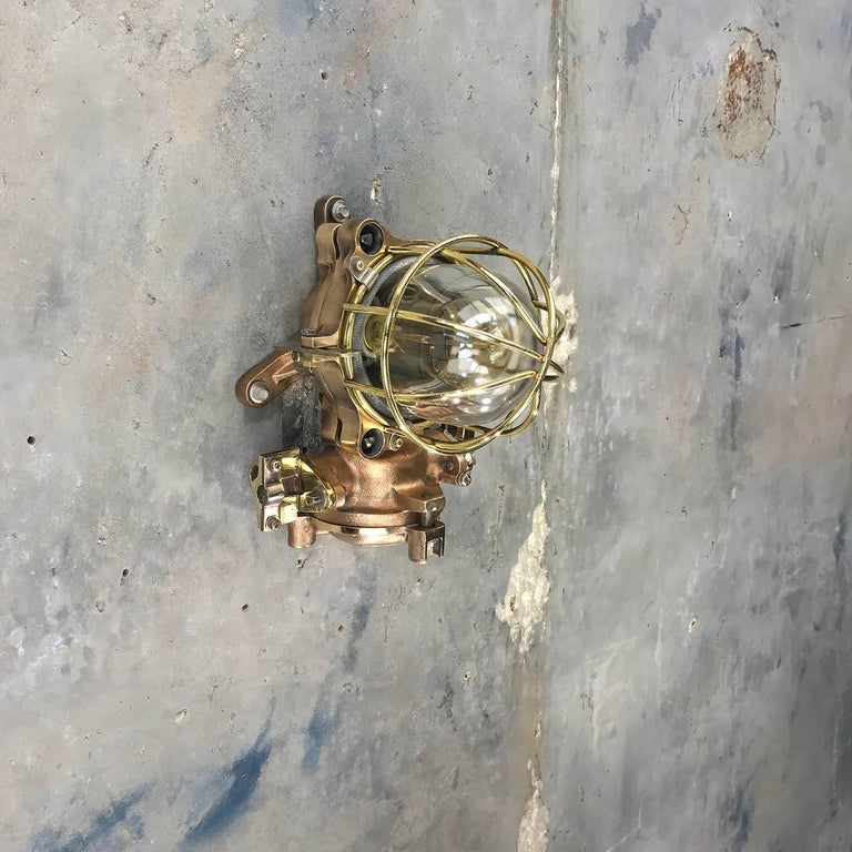 Late Century Flame Proof Cast Bronze Ceiling / Wall Light, Glass Dome Brass Cage For Sale 12
