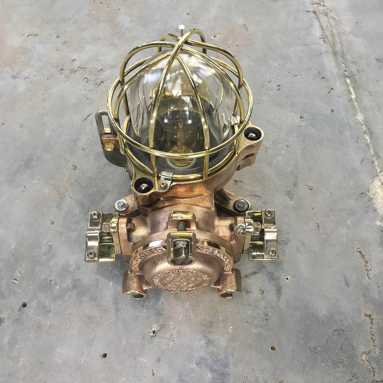 Late Century Flame Proof Cast Bronze Ceiling / Wall Light, Glass Dome Brass Cage For Sale 13
