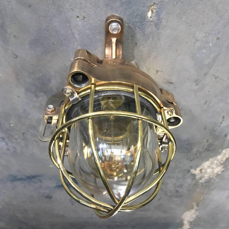 Late 20th Century Late Century Flame Proof Cast Bronze Ceiling / Wall Light, Glass Dome Brass Cage For Sale