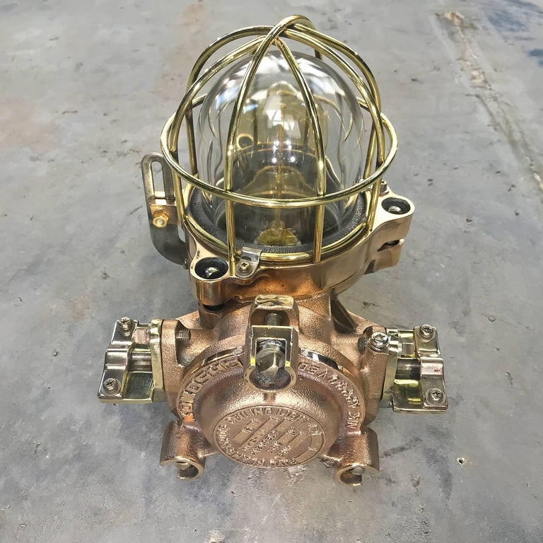 Late Century Flame Proof Cast Bronze Ceiling / Wall Light, Glass Dome Brass Cage For Sale 3