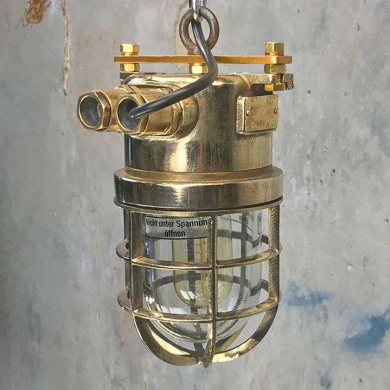 Late Century German Cast Brass and Glass Shade Explosion Proof Pendant Light For Sale 5