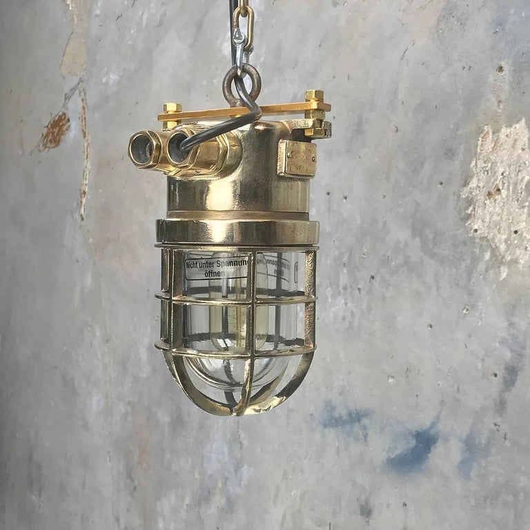 Late Century German Cast Brass and Glass Shade Explosion Proof Pendant Light For Sale 6