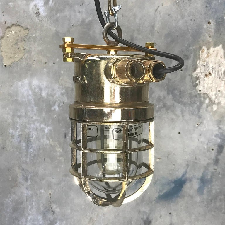Late Century German Cast Brass and Glass Shade Explosion Proof Pendant Light In Excellent Condition For Sale In Leicester, Leicestershire