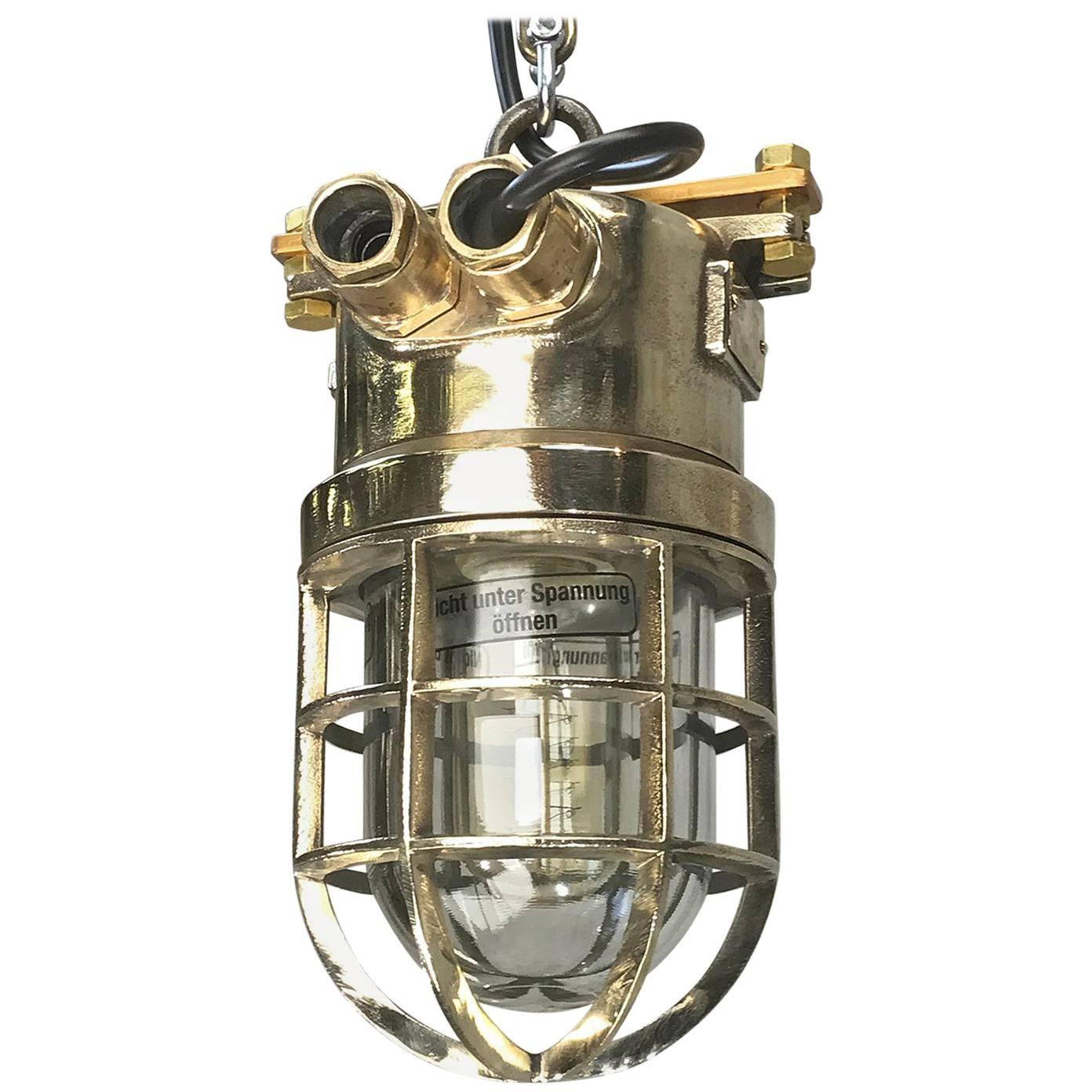Late Century German Cast Brass and Glass Shade Explosion Proof Pendant Light