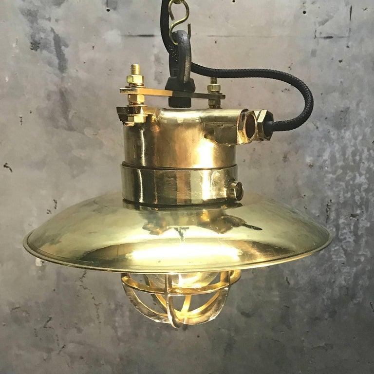 Late Century German Cast Brass & Glass Explosion Proof Pendant Light Brass Shade For Sale 8