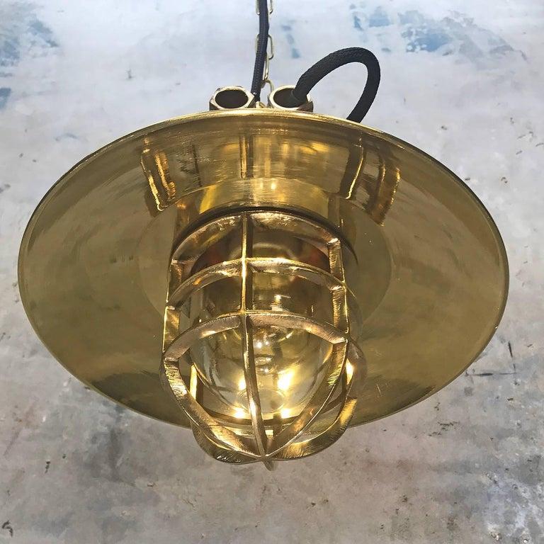 Late Century German Cast Brass & Glass Explosion Proof Pendant Light Brass Shade For Sale 1