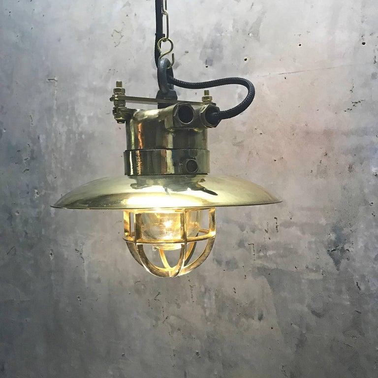 Late Century German Cast Brass & Glass Explosion Proof Pendant Light Brass Shade For Sale 3