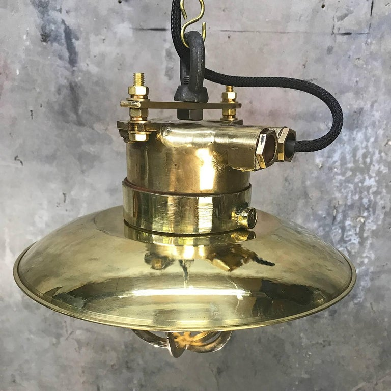 Late Century German Cast Brass & Glass Explosion Proof Pendant Light Brass Shade For Sale 4