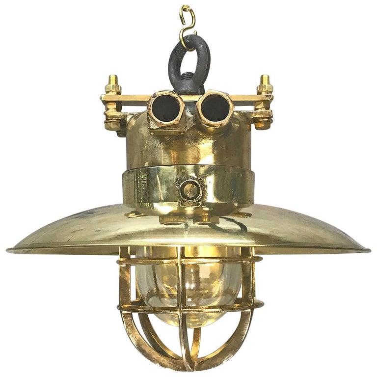 Late Century German Cast Brass & Glass Explosion Proof Pendant Light Brass Shade For Sale