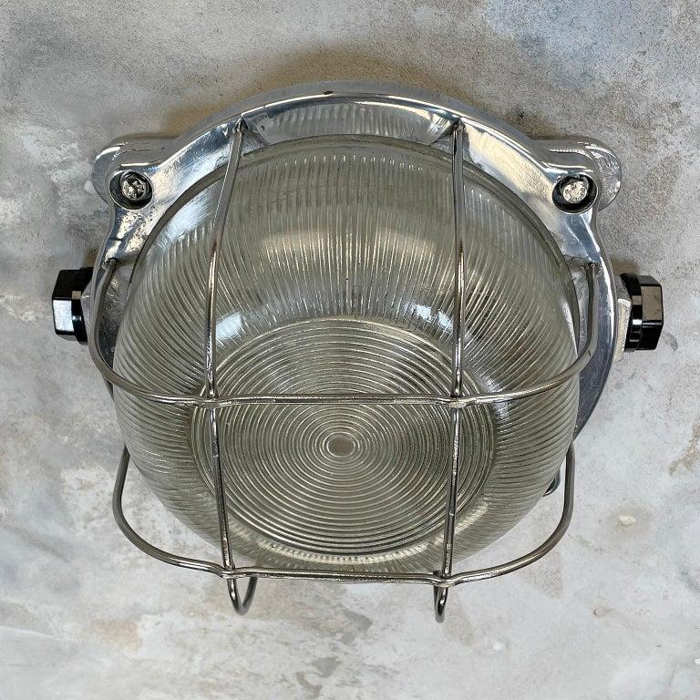 Late Century Industrial Cast Aluminium Circular Bulkhead lamp Reeded Glass Shade For Sale 4