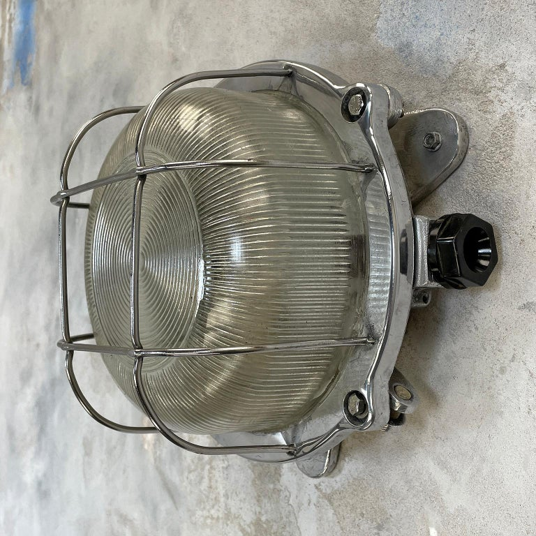 German Late Century Industrial Cast Aluminium Circular Bulkhead lamp Reeded Glass Shade For Sale