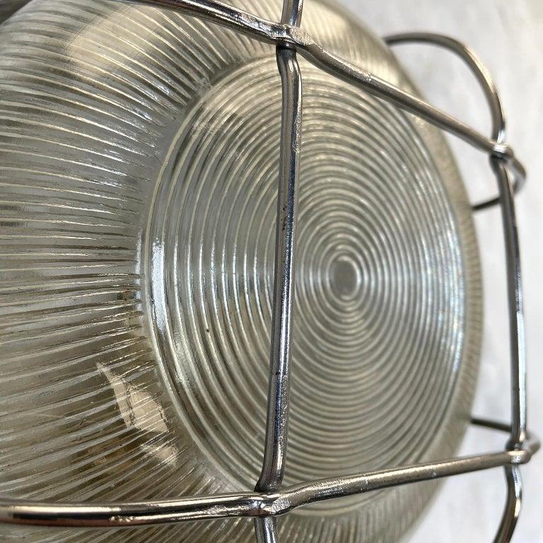 Aluminum Late Century Industrial Cast Aluminium Circular Bulkhead lamp Reeded Glass Shade For Sale
