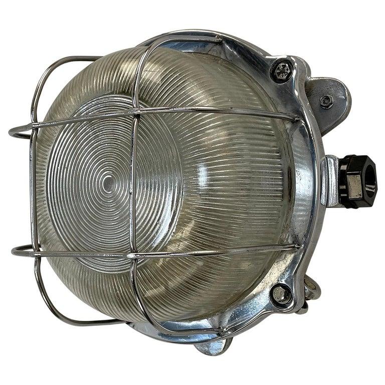 Late Century Industrial Cast Aluminium Circular Bulkhead lamp Reeded Glass Shade For Sale