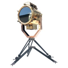 Late Century Japanese Copper & Brass Searchlight Floor Lamp British MOD Tripod