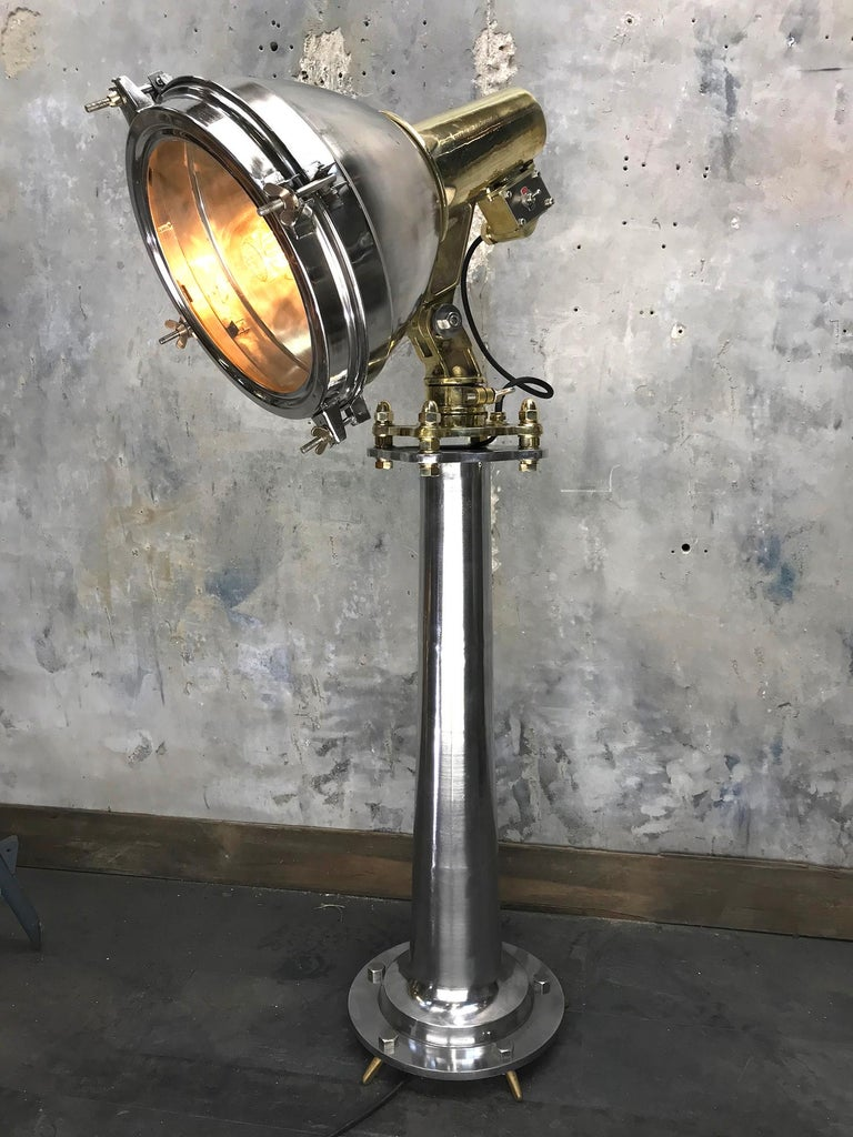 Late Century Japanese Industrial Brass & Stainless Steel Searchlight Floor Lamp For Sale 6