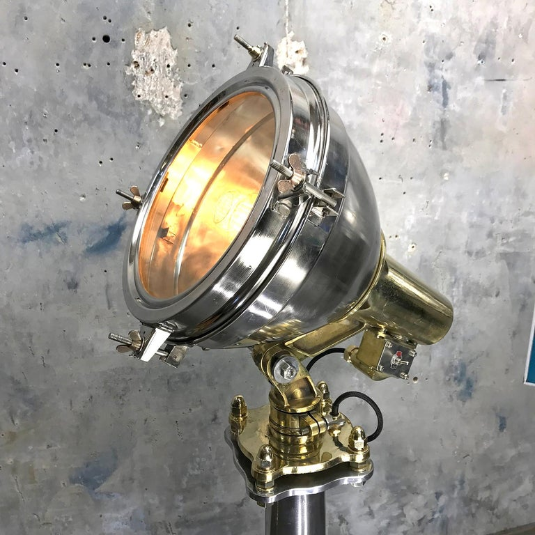 Late Century Japanese Industrial Brass & Stainless Steel Searchlight Floor Lamp For Sale 11