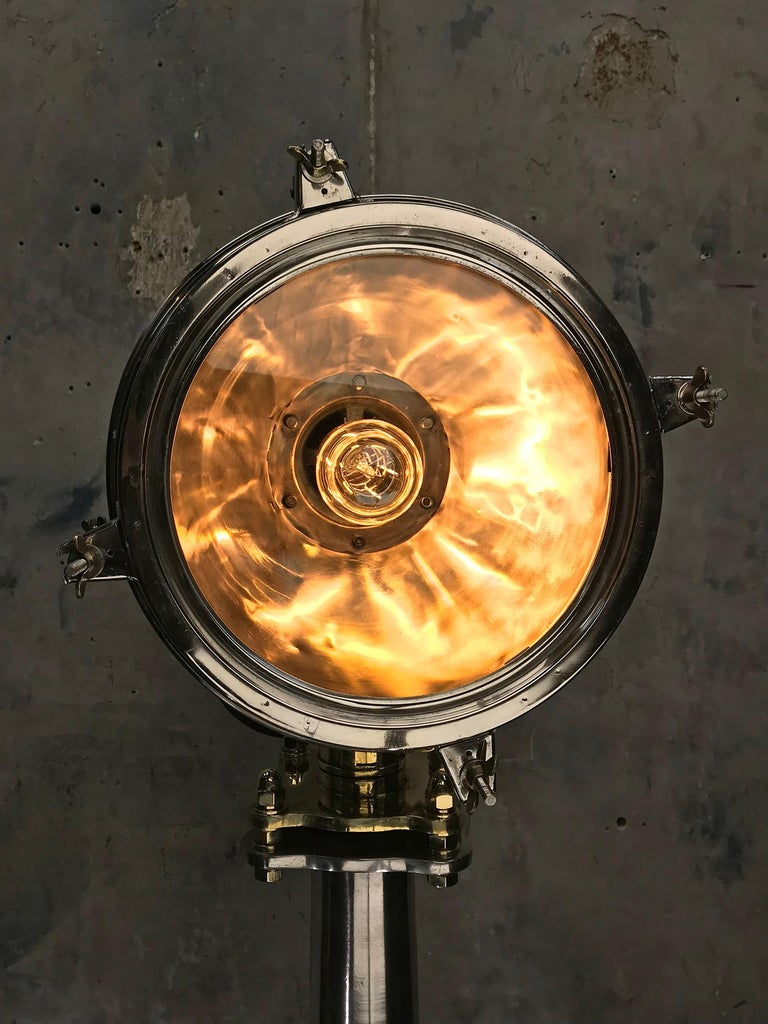 Late Century Japanese Industrial Brass & Stainless Steel Searchlight Floor Lamp For Sale 12
