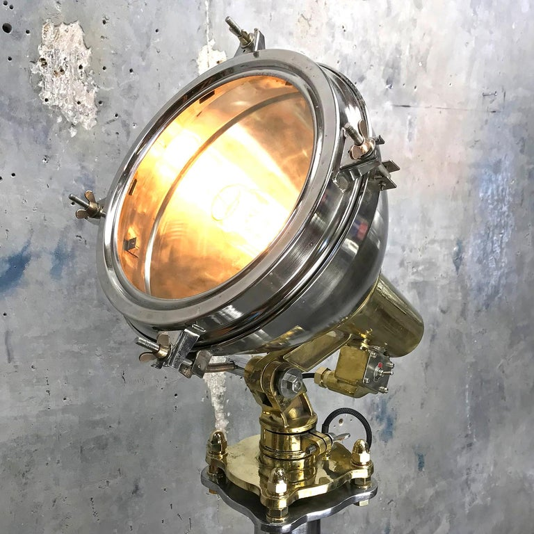 Late Century Japanese Industrial Brass & Stainless Steel Searchlight Floor Lamp In Excellent Condition For Sale In Leicester, Leicestershire