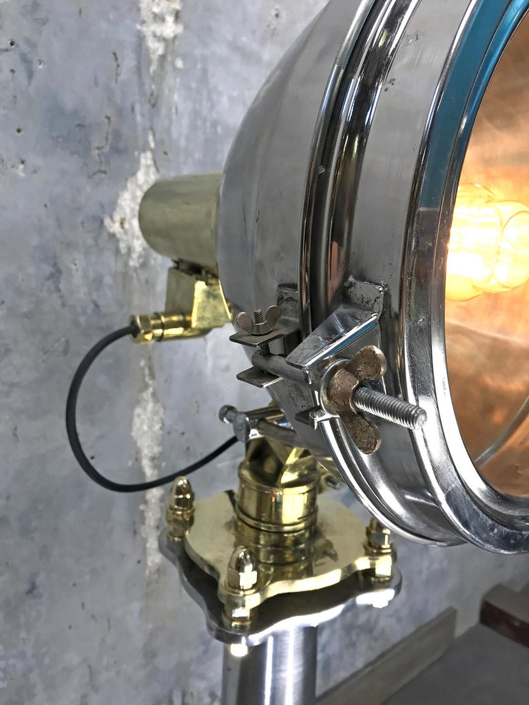 Late Century Japanese Industrial Brass & Stainless Steel Searchlight Floor Lamp For Sale 3