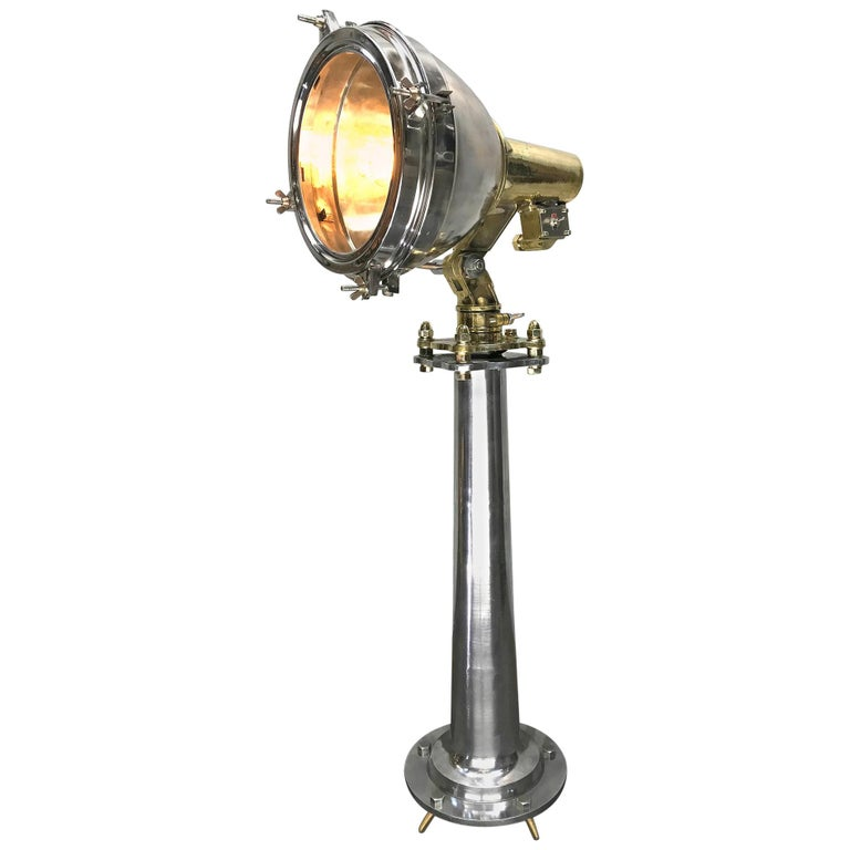 Late Century Japanese Industrial Brass & Stainless Steel Searchlight Floor Lamp For Sale