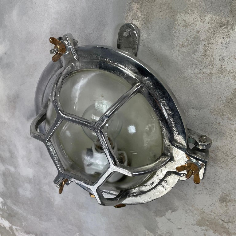 Late Century Japanese Industrial Cast Aluminium and Glass Circular Wall Light For Sale 6