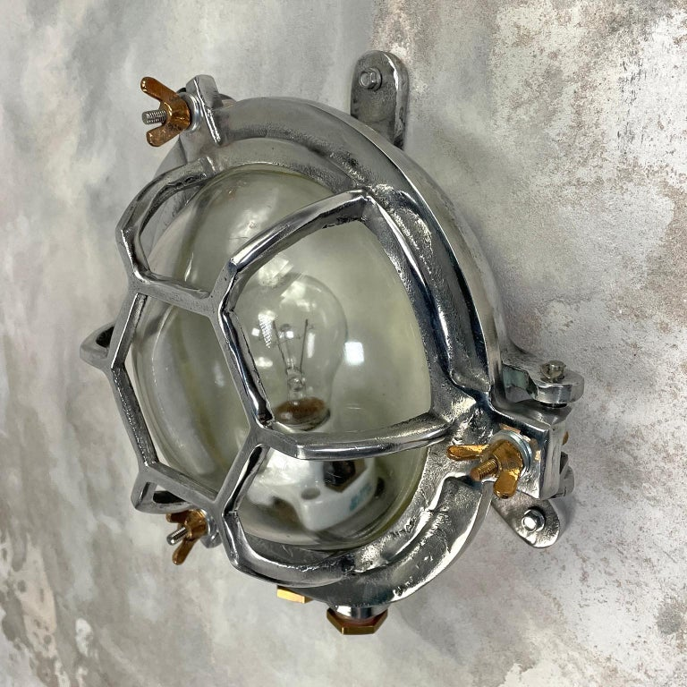 Late Century Japanese Industrial Cast Aluminium and Glass Circular Wall Light For Sale 7