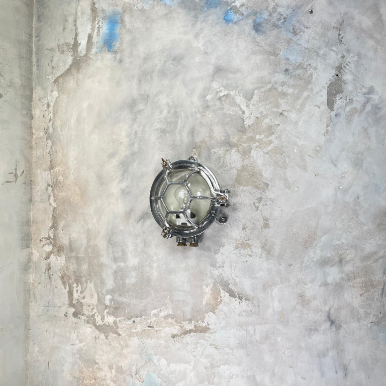 Late Century Japanese Industrial Cast Aluminium and Glass Circular Wall Light For Sale 11