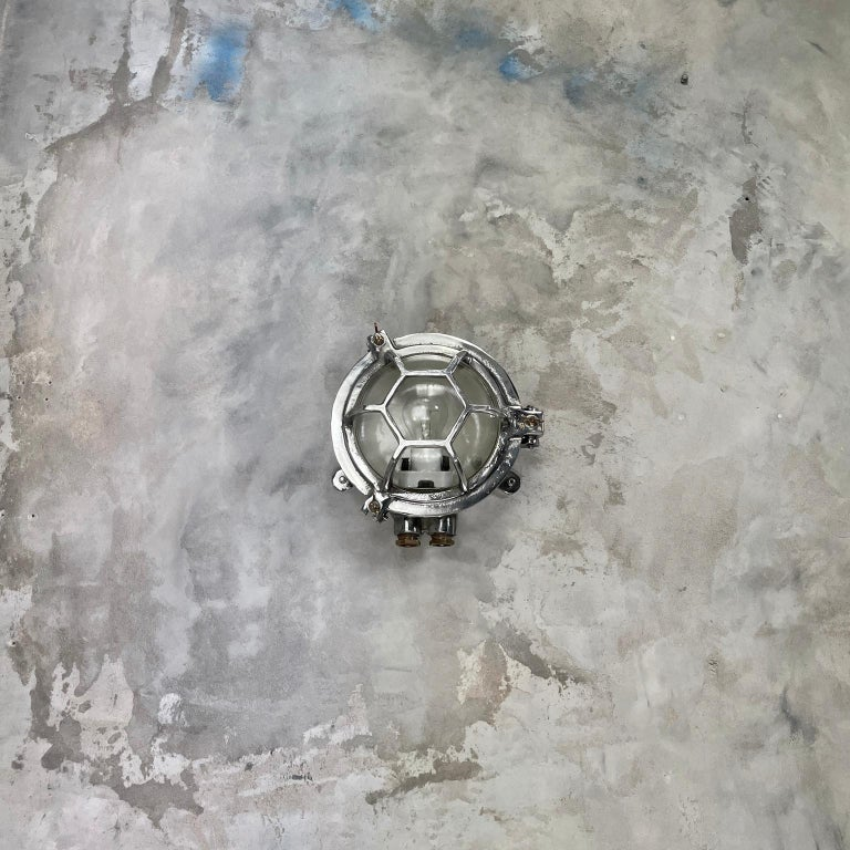 Late Century Japanese Industrial Cast Aluminium and Glass Circular Wall Light For Sale 12